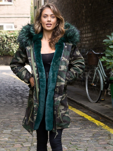 Ladies Real Look Faux Fur Collar Parka Jacket Camo with Emerald Green Faux Fur 3/4