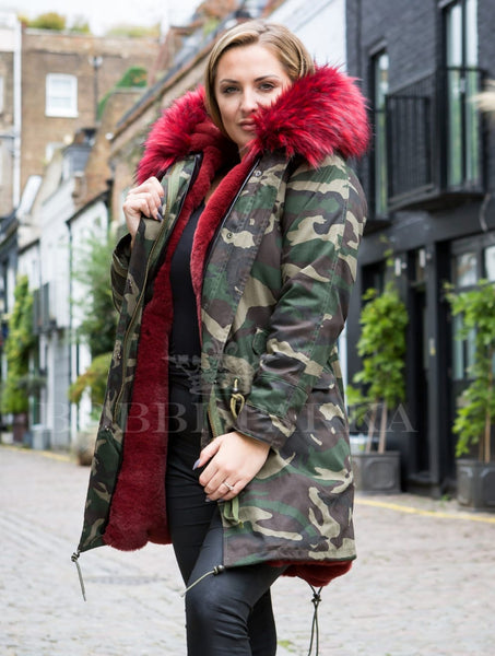 Ladies Real Look Faux Fur Collar Parka Jacket Camo with Red Faux Fur 3/4