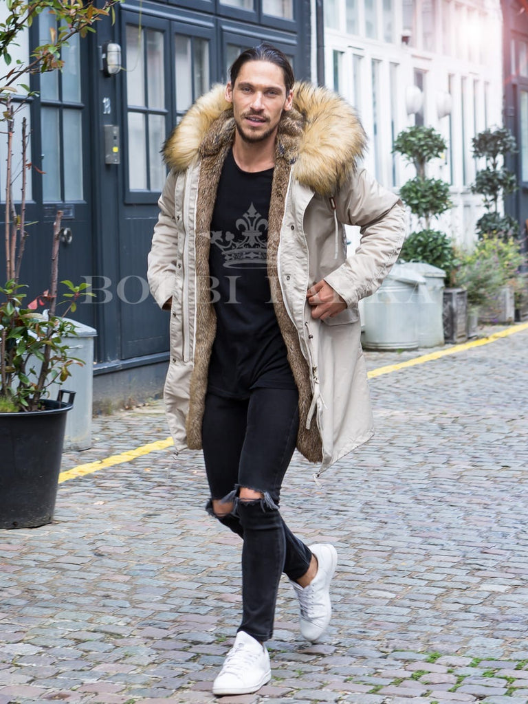 Mens Real Look Faux Fur Collar Beige Parka with Natural Faux Fur Lining 3/4