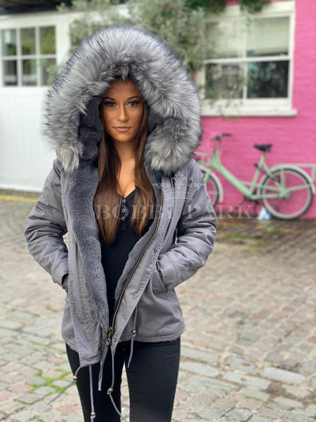 Ladies Real Look Faux Fur Collar Parka Jacket with Grey Faux Fur