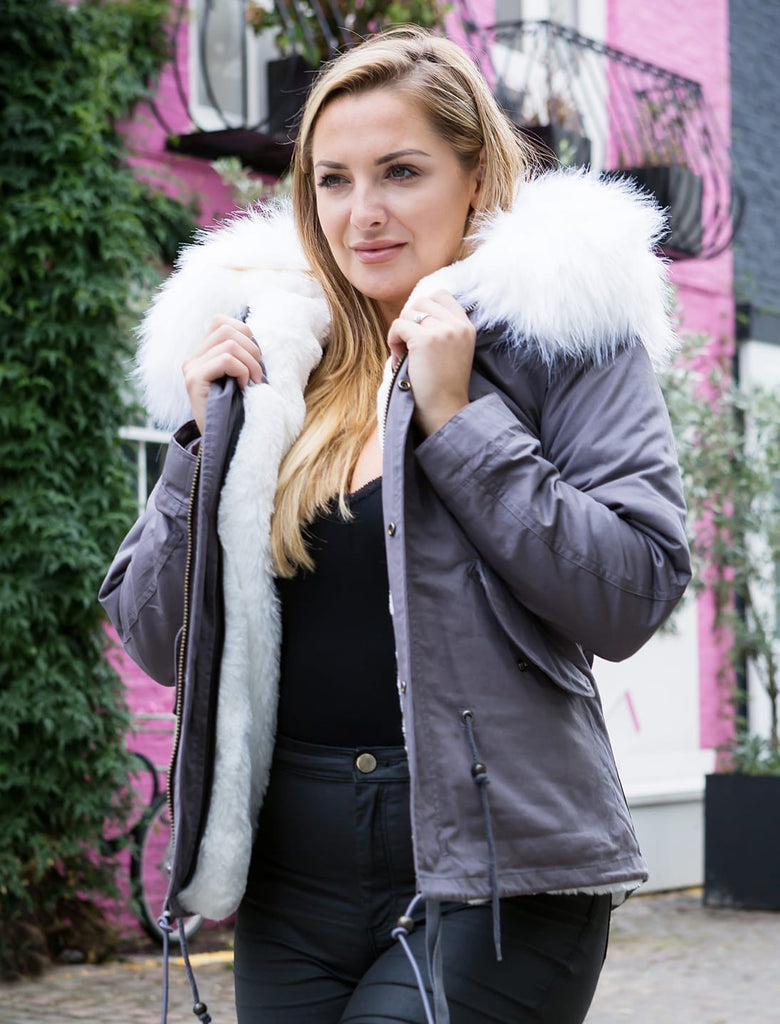 Ladies Real Look Grey Faux Fur Collar Parka Jacket with White Faux Fur