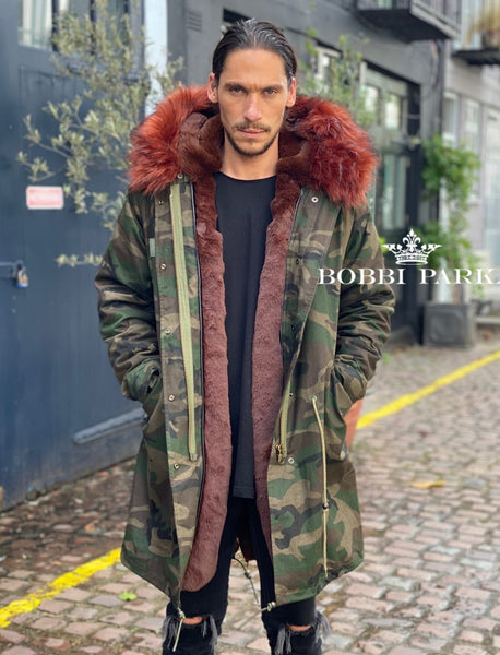 Mens Camo Faux Fur Collar Parka Jacket with Chocolate Brown Faux Fur 3/4