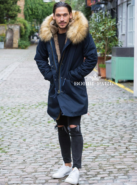 Mens Real Look Faux Fur Collar Parka Jacket with Natural Faux Fur Lining 3/4