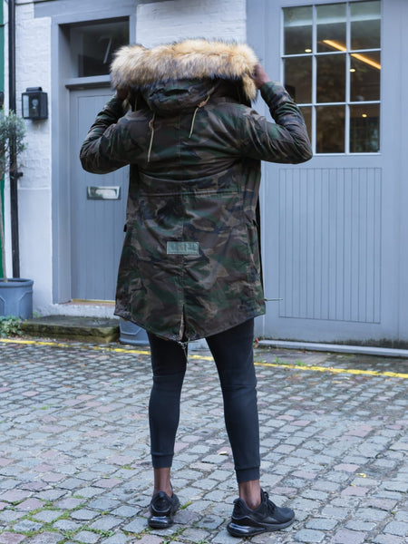 Mens Camo Faux Fur Collar Parka Jacket with Natural Faux Fur 3/4