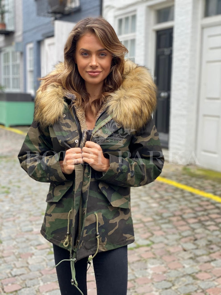 Ladies Real Look Camo Faux Fur Parka with Natural Faux Fur