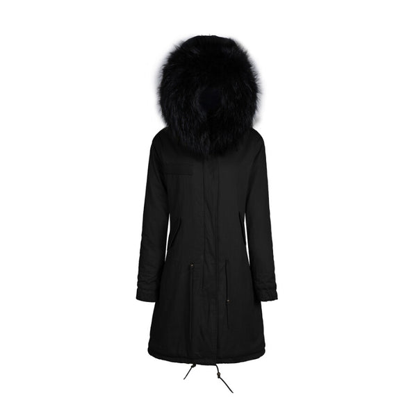 Raccoon Fur Collar Parka Jacket with Black Fur 3/4 -  - 1