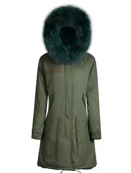 Ladies Luxury Collar Parka Jacket with Green Collar 3/4
