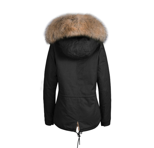 Mens Raccoon Fur Collar Parka Jacket with Natural Fur -  - 6