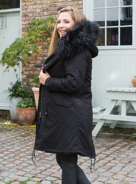 Sale Ladies Real Look Faux Fur Collar Parka Jacket with Black Faux Fur Lining 3/4