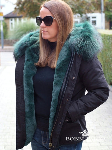 Ladies Luxury Parka Jacket with Green Collar