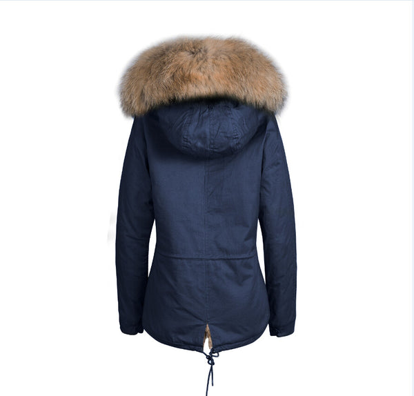 Mens Raccoon Fur Collar Parka Jacket with Natural Fur -  - 8