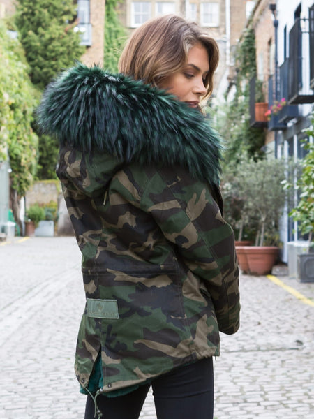 Ladies Real Look Camo Faux Fur Parka with Emerald Green Faux Fur