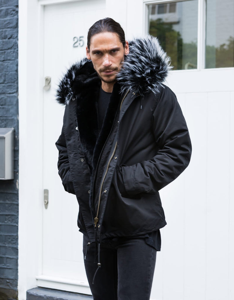 Mens Real Look Faux Fur Collar Parka Jacket with Black White Tip Faux Fur