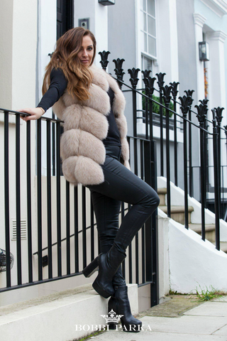 Full Fox Fur Vest / Gilet - Beige