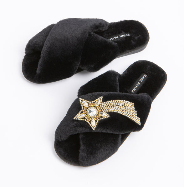 Bobbi Parka fluffy faux fur slippers in black with a crystal shooting star brooch