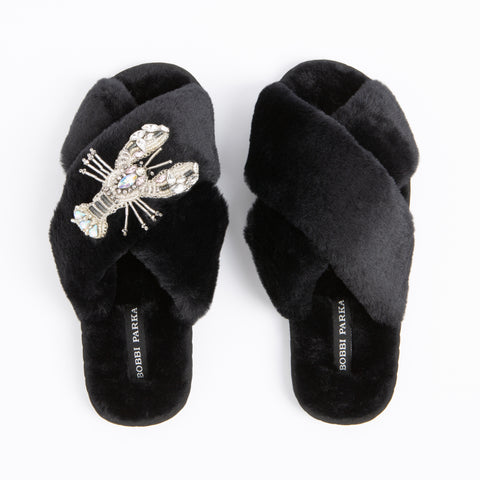 Bobbi Parka fluffy faux fur slippers with a crystal silver lobster brooch