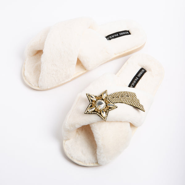 Bobbi Parka fluffy faux fur slippers in cream with a crystal shooting star brooch