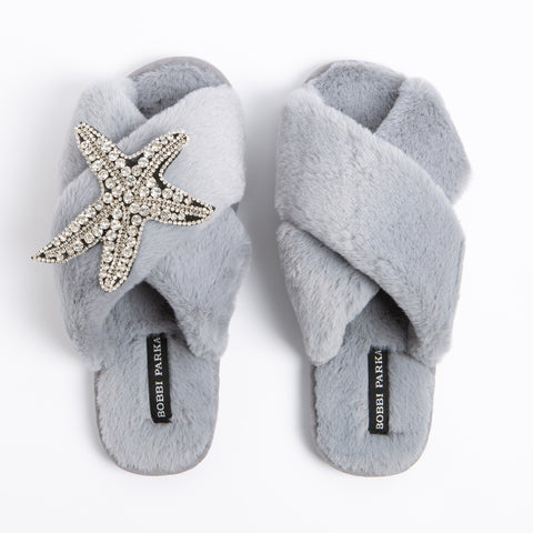 Bobbi Parka fluffy faux fur slippers in grey with a crystal starfish brooch