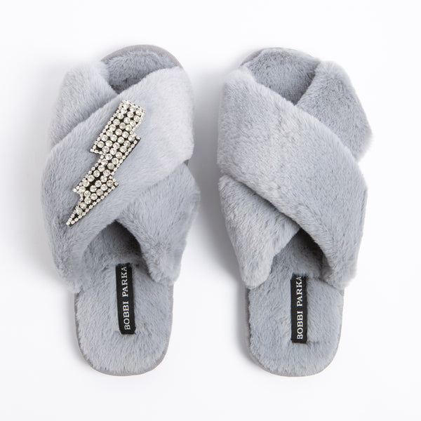 Bobbi Parka fluffy faux fur slippers in grey with a crystal lightning brooch