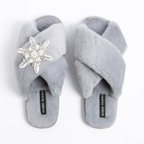 Bobbi Parka fluffy faux fur slippers in grey with a crystal snowflake brooch