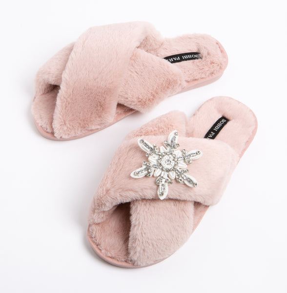 Bobbi Parka fluffy faux fur slippers with a crystal snowflake brooch