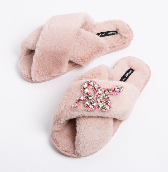 Bobbi Parka fluffy faux fur slippers in pink with a crystal snake brooch