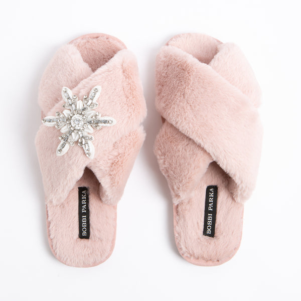 Bobbi Parka fluffy faux fur slippers in pink with a crystal snowflake brooch