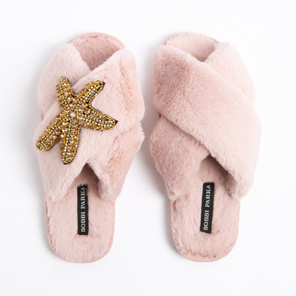 Bobbi Parka fluffy faux fur slippers in pink with a crystal starfish brooch