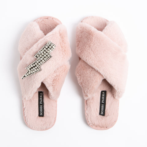 Bobbi Parka fluffy faux fur slippers in pink with a crystal lightning brooch