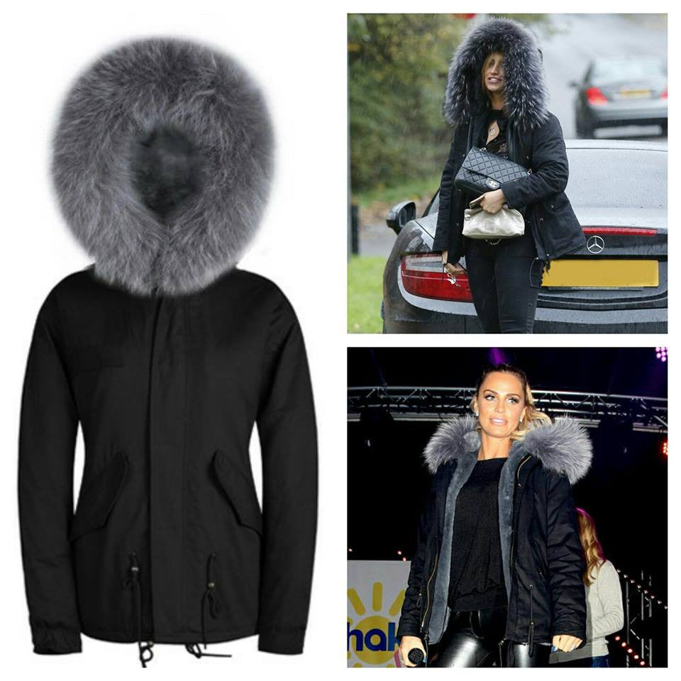 Faux Fur Collar Parka Jacket with Grey Faux Fur -  - 2