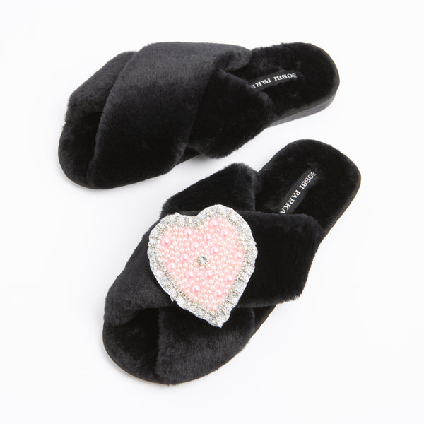 Bobbi Parka fluffy faux fur slippers in black with a crystal love heart brooch