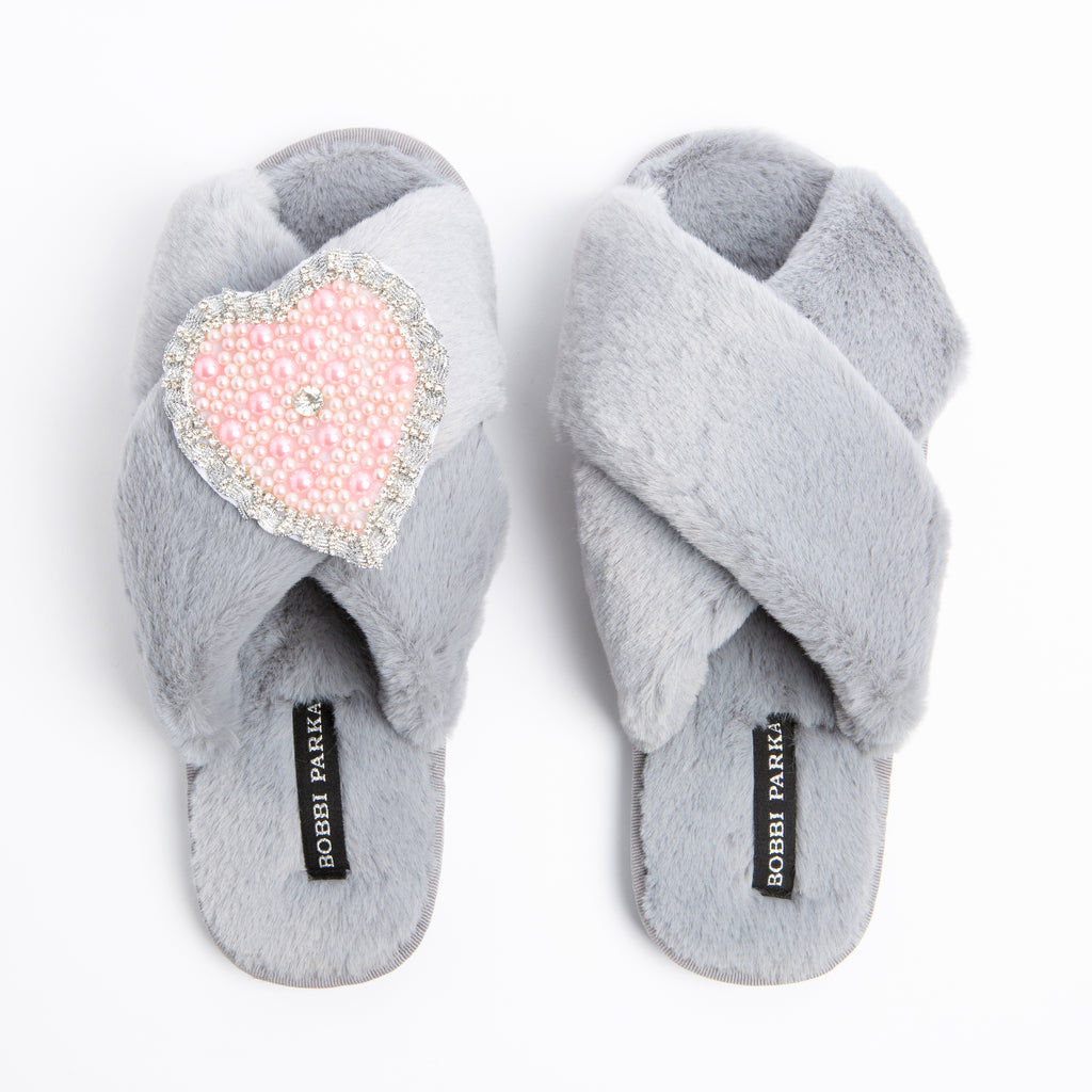 Bobbi Parka fluffy faux fur slippers in grey with a crystal love heart brooch