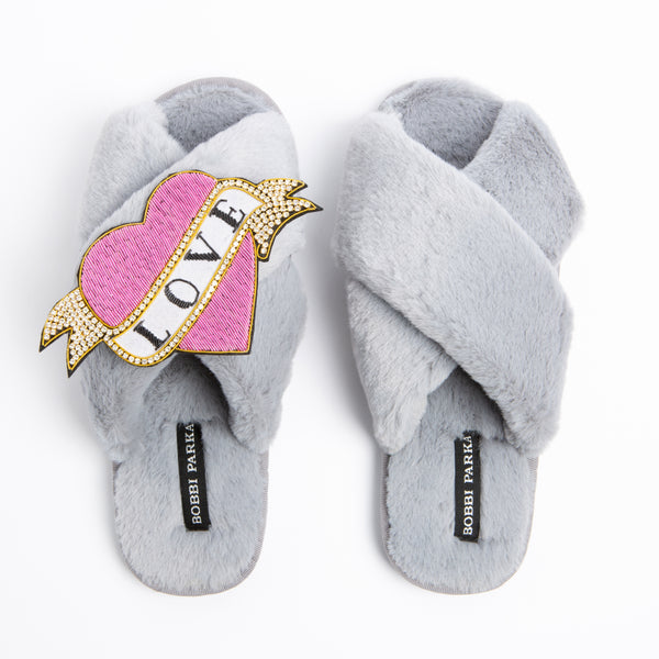 Bobbi Parka fluffy faux fur slippers in Grey with a crystal love brooch