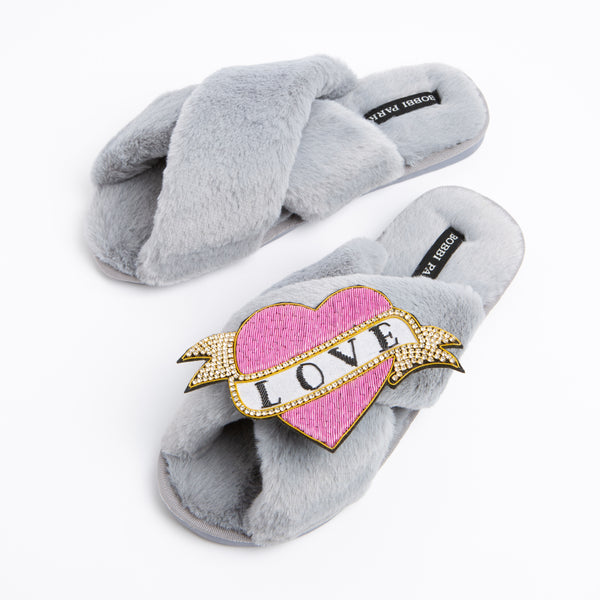 Bobbi Parka fluffy faux fur slippers with a crystal pink love brooch