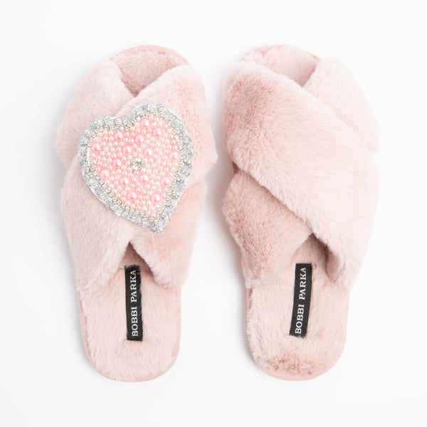 Bobbi Parka fluffy faux fur slippers in pink with a crystal love heart brooch