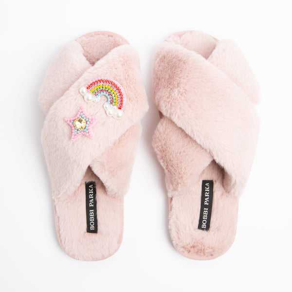 Bobbi Parka fluffy faux fur slippers in pink with a crystal rainbow star brooch