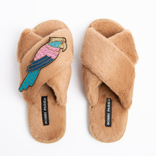 Bobbi Parka fluffy faux fur slippers in camel with a crystal parrot brooch
