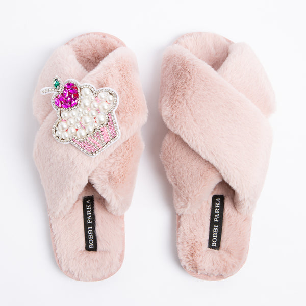 Bobbi Parka fluffy faux fur slippers with a cupcake brooch