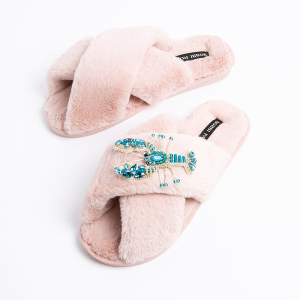 Bobbi Parka fluffy faux fur slippers with a crystal blue lobster brooch