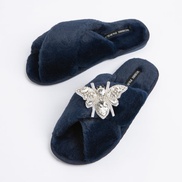 Bobbi Parka fluffy faux fur slippers with a crystal brooch