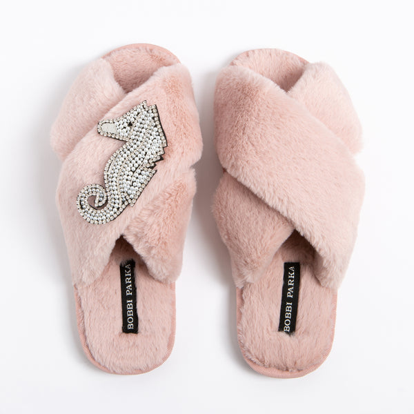 Bobbi Parka fluffy faux fur slippers with a crystal seahorse brooch