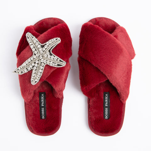Bobbi Parka fluffy faux fur slippers in red with a crystal starfish brooch