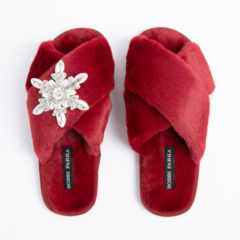 Bobbi Parka fluffy faux fur slippers in Red with a crystal snowflake brooch