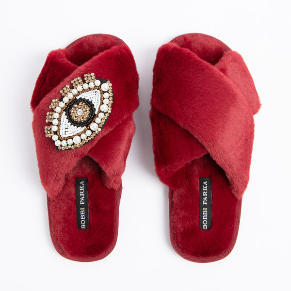 Bobbi Parka fluffy faux fur slippers with a crystal eye brooch