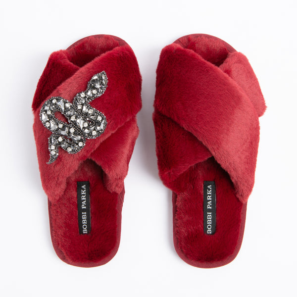 Bobbi Parka fluffy faux fur slippers in red with a crystal snake brooch