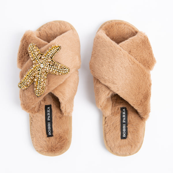 Bobbi Parka fluffy faux fur slippers in camel with a crystal starfish brooch