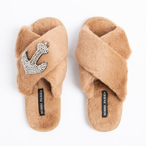 Bobbi Parka fluffy faux fur slippers with a crystal anchor brooch