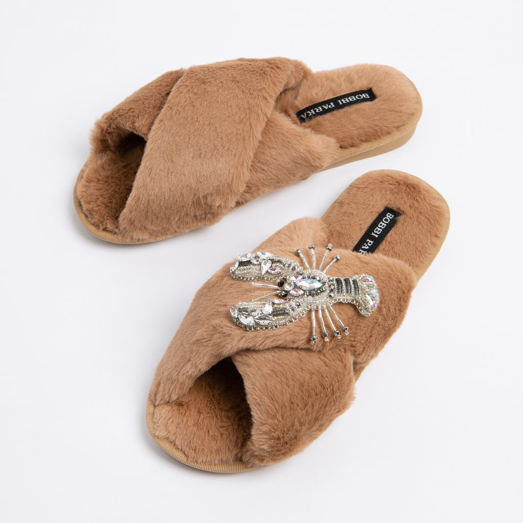 Bobbi Parka fluffy faux fur slippers in camel with a crystal lobster brooch