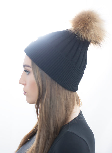 Angora Pom Pom Hat - Black With Natural Pom Pom