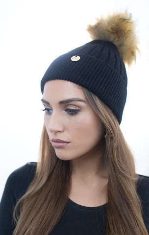 Sale Angora Faux Pom Pom Hat - Black With Natural Faux Pom Pom